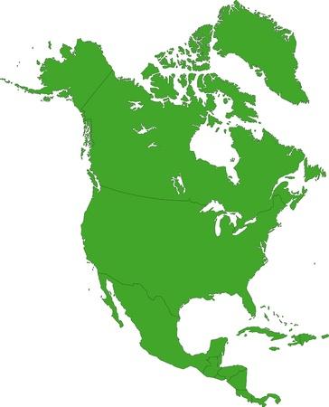 north america map: Verde Nord America mappa con i confini del paese Vettoriali