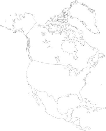 Contour Noord-Amerika kaart met landsgrenzen