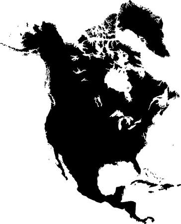 continente americano: Negro Norteamérica mapa con las fronteras del país