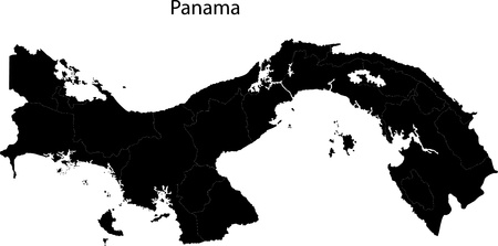 panama: Black Panama map with province borders Illustration