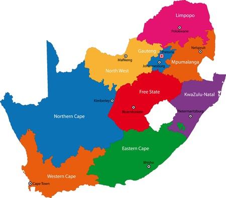 Afrique du Sud carte conçu dans l'illustration avec les provinces et la Ville principale Banque d'images - 21757501