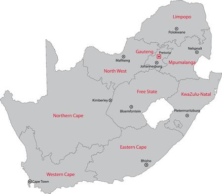 Afrique du Sud carte conçu dans l'illustration avec les provinces et les principales villes Banque d'images - 21757512