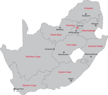 realm: South Africa map designed in illustration with the provinces and the main cities Illustration
