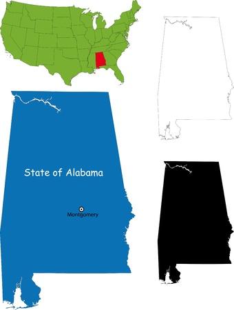 alabama: State of Alabama, USA Illustration