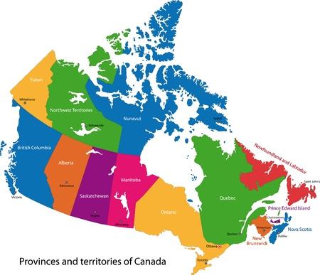 Carte colorée Canada avec les provinces et les capitales Vecteurs