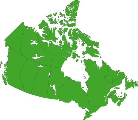 Green Canada map with provinces and capital cities Vector
