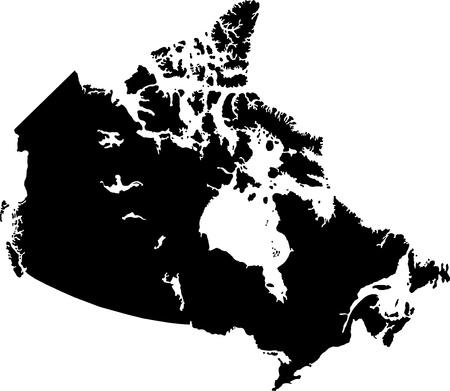 Noir carte du Canada avec les frontières de la province