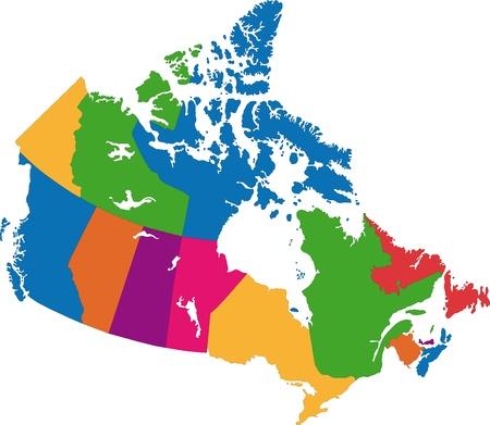 ベクトル カラフルな州のボーダー カナダ地図