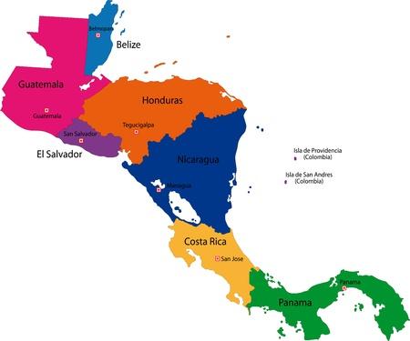 중앙 아메리카의지도 국가 테두리와 매핑