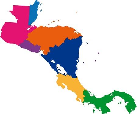Centroamérica mapa con las fronteras del país Foto de archivo - 21757525