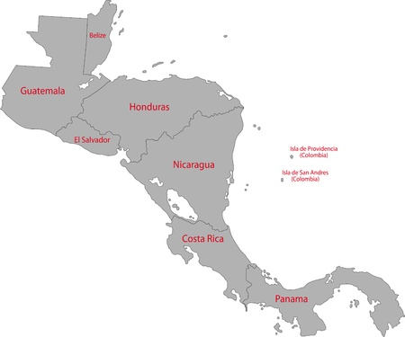 Grau Zentralamerika Karte mit Landesgrenzen