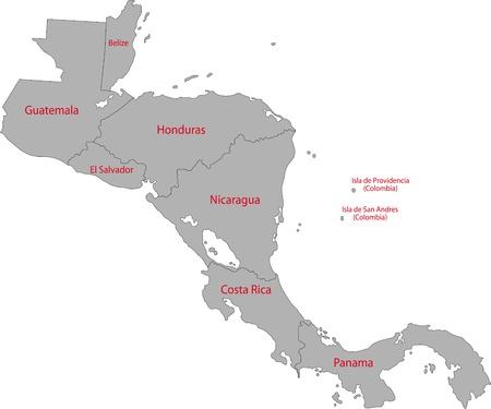 Gris centraux carte de l'Amérique avec les frontières des pays