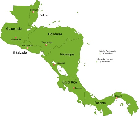 Nicaragua: Green Central America map with country borders Illustration