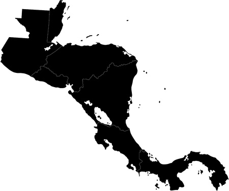 Black Central America map with country borders Illustration