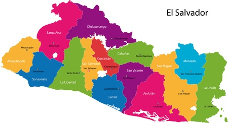 el salvador: Map of the Republic of El Salvador with the departments colored in bright colors and the main cities Illustration