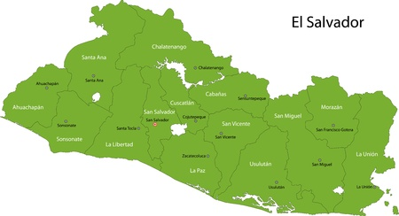 el salvador: Green El Salvador map with department borders
