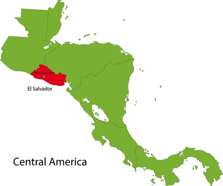el salvador: Location of El Salvador on Central America