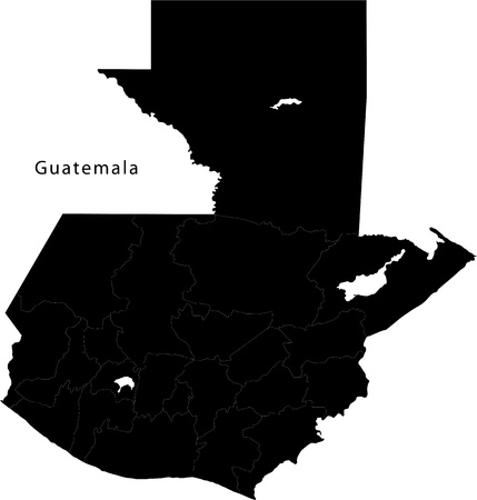 central america: Black Guatemala map with department borders Illustration
