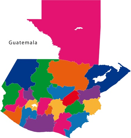 guatemalan: Map of the Republic of Guatemala with the departments colored in bright colors Illustration