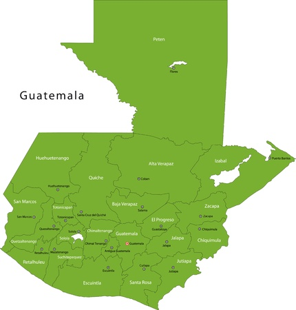 Green Guatemala map with department borders 向量圖像