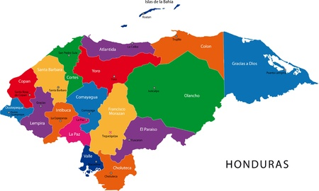 central america: Map of the Republic of Honduras with the departments colored in bright colors and the main cities
