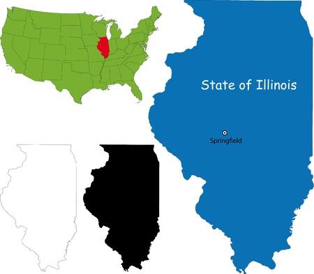 chicago: State of Illinois, USA Illustration