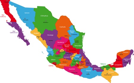 mexico city: Colorful Mexico map with state borders and capital cities