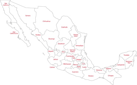 Mexico Map With State Borders And Capital Cities Royalty Free - Us map with state lines