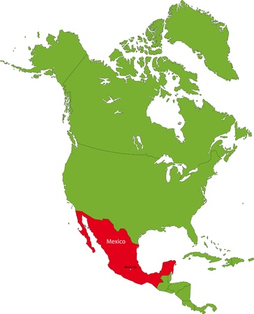 central america: Location of Mexico on the North America continent