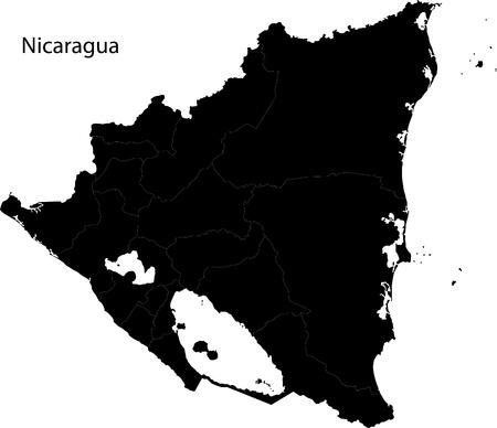 Black Nicaragua map with department borders Vetores