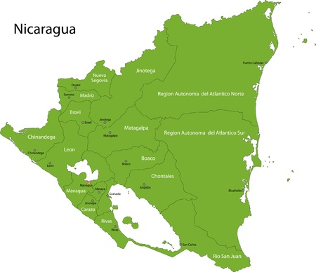 Green Nicaragua map with department borders Illustration