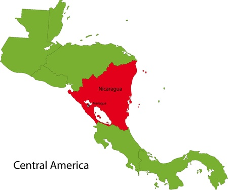 Location of Nicaragua on Central America Vetores