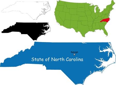 State of North Carolina, USA Vector