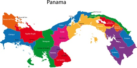 panama: Map of the Republic of Panama with the provinces colored in bright colors and the main cities