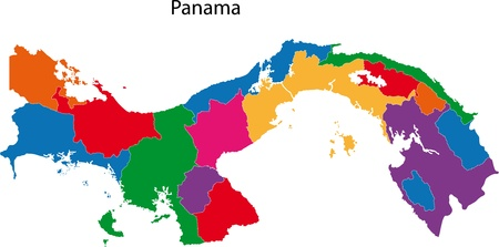 panama: Map of the Republic of Panama with the provinces colored in bright colors