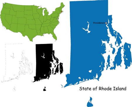 State of Rhode Island, USA Vector