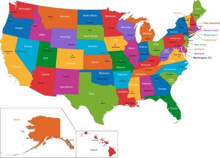 Kleurrijke kaart van de VS met staten en hoofdsteden Stock Illustratie