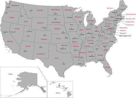 Gray USA map with states and capital cities Vector