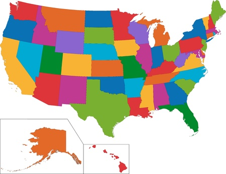 Vector Colorful USA map with state borders Vector