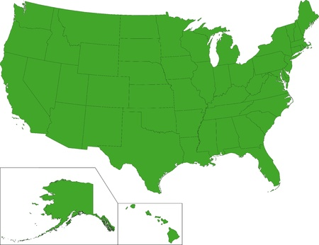 Green USA map with states Vector