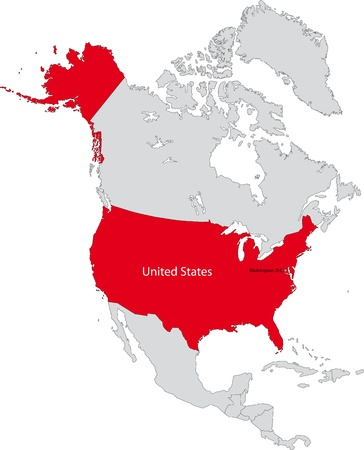 Location of the United States of America on the north America continent  イラスト・ベクター素材
