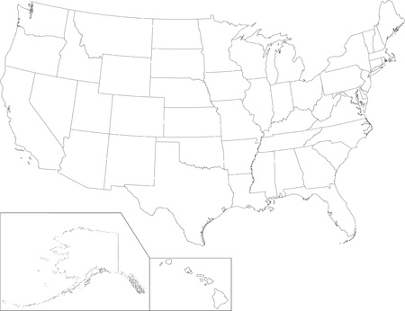 Outline USA map with states