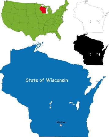 wisconsin: State of Wisconsin, USA Illustration