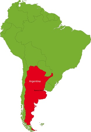 argentine: Location of Argentina on the South America continent