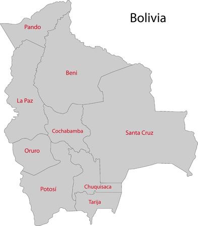 mapa de bolivia: Mapa de las divisiones administrativas de Bolivia Vectores