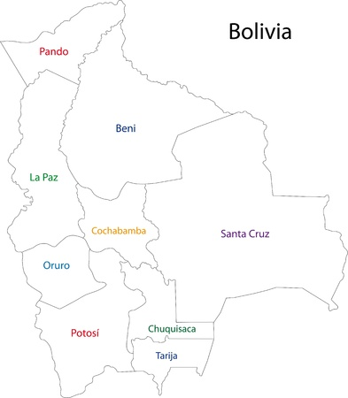administrative divisions: Map of administrative divisions of Bolivia
