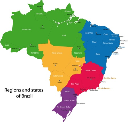 Colorful Brazil map with regions, states and capital cities Vectores