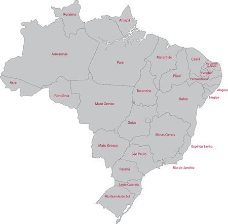 brasilia: Grey Brazil map with states Illustration