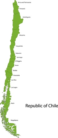 Map of administrative divisions of Chile Vector