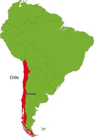 santiago: Location of Chile on the South America continent